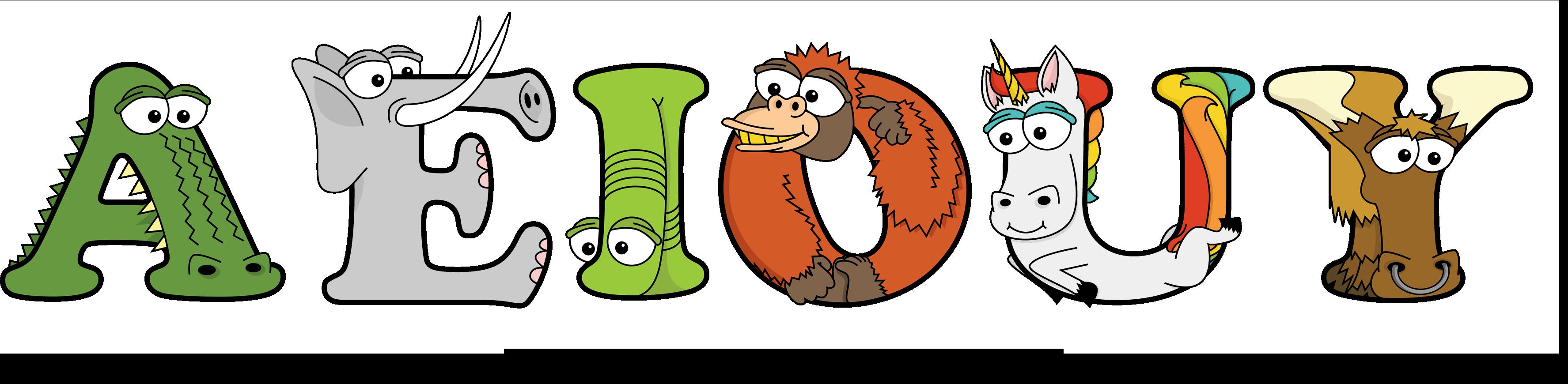 The word AEIOUY written in cute cartoon animal drawings