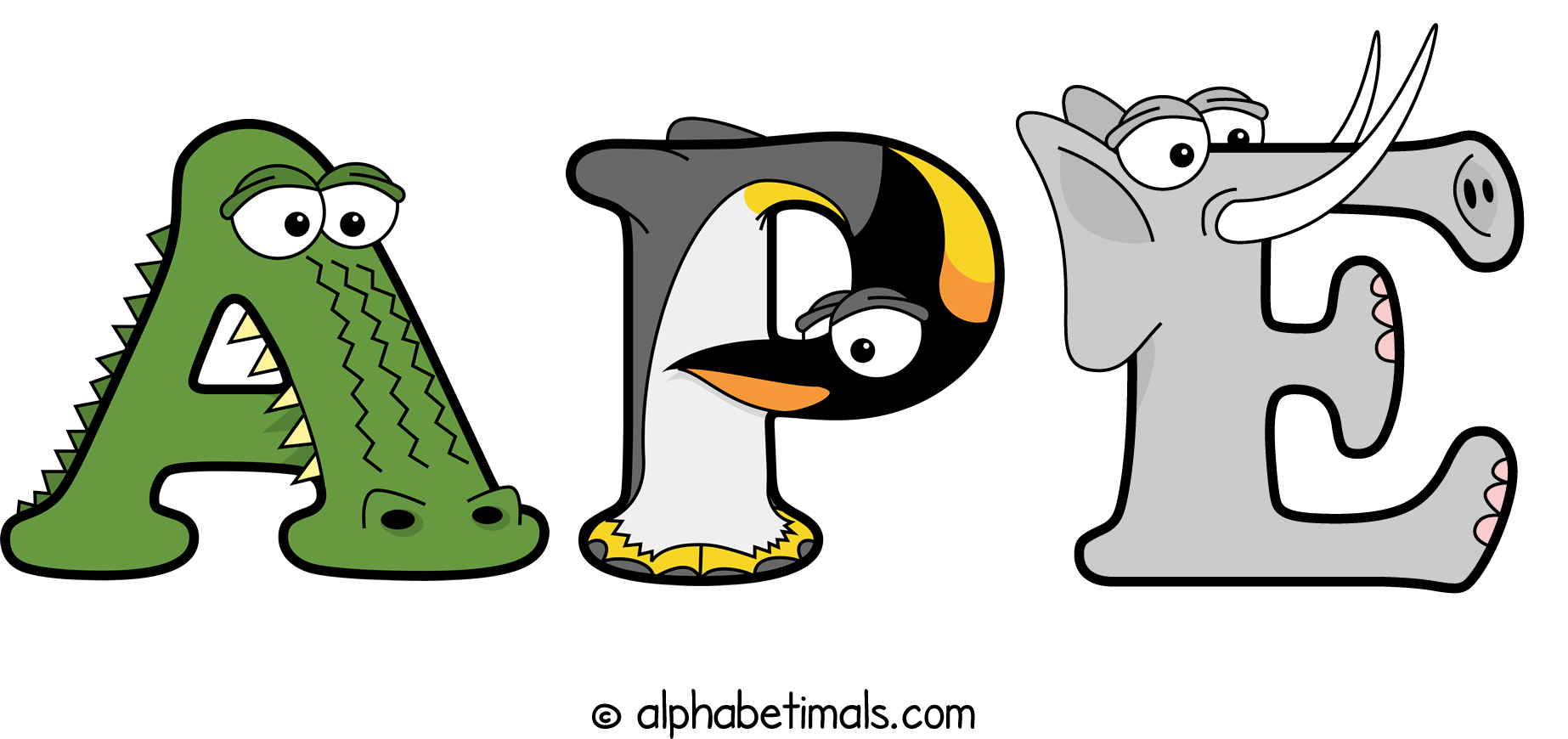 The word APE written in cute cartoon animal drawings