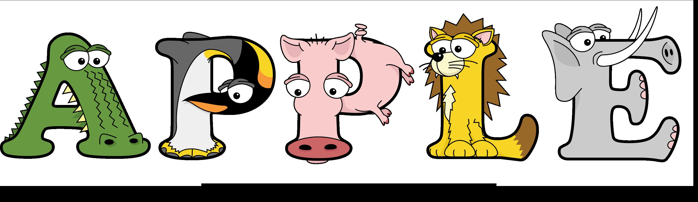 The word APPLE written in cute cartoon animal drawings