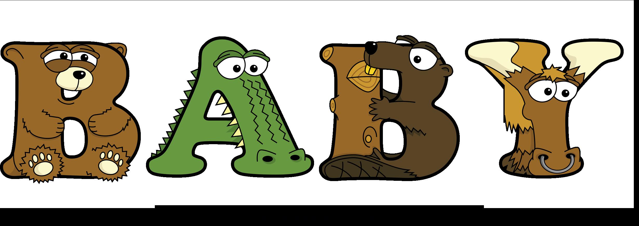 The word BABY written in cute cartoon animal drawings