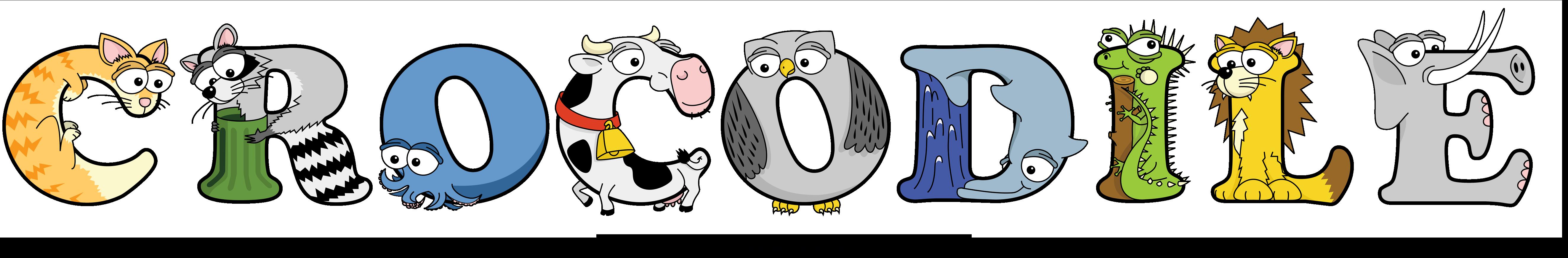 The word CROCODILE written in cute cartoon animal drawings