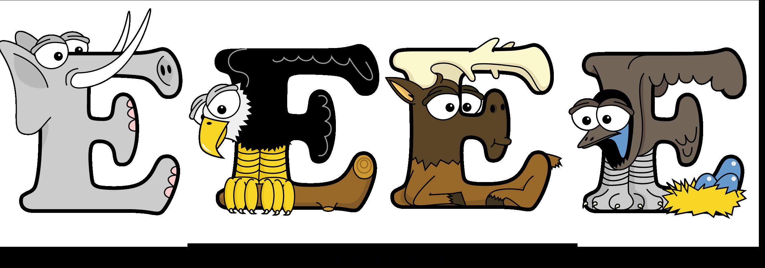 The word EEEE written in cute cartoon animal drawings