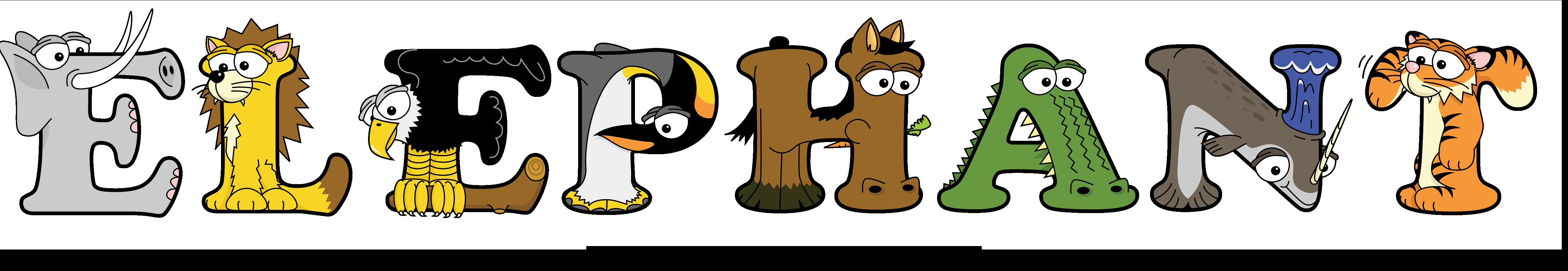 The word ELEPHANT written in cute cartoon animal clipart