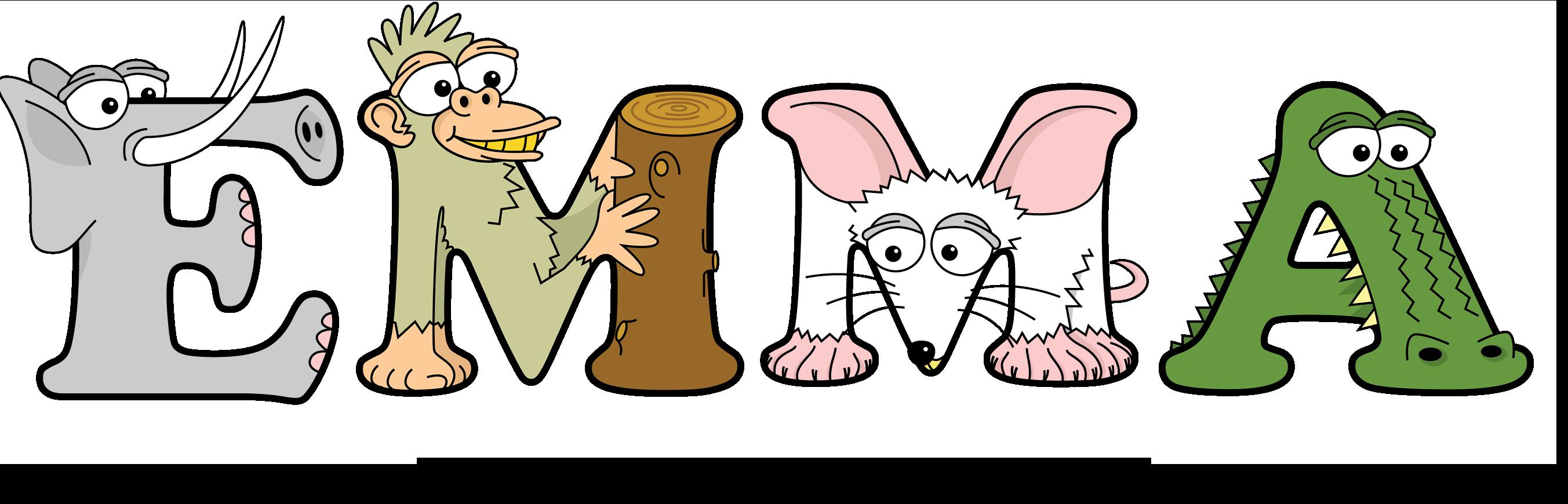 The word EMMA written in cute cartoon animal drawings