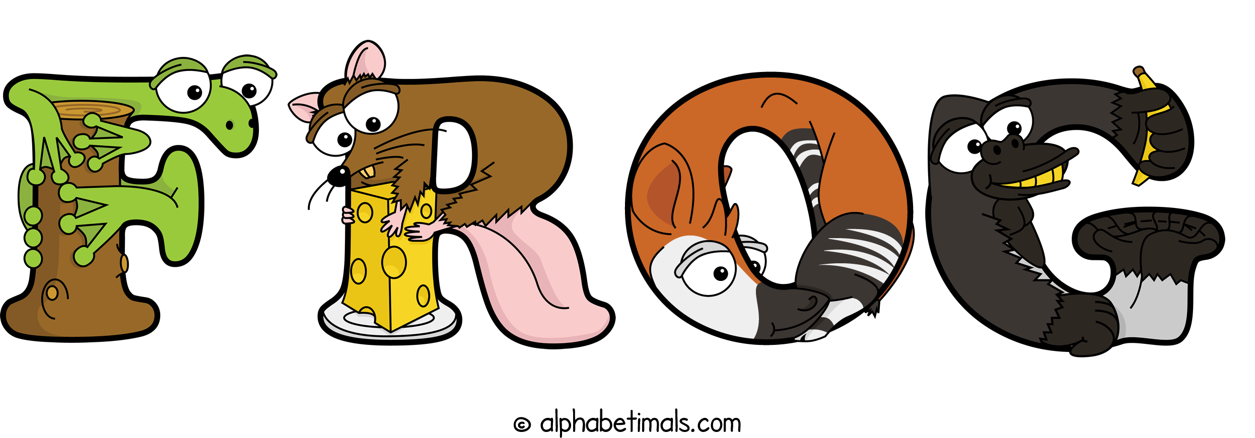 The word FROG written in cute cartoon animal drawings