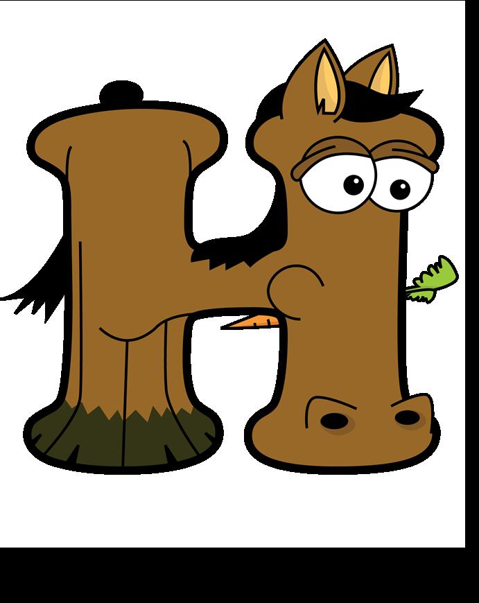 The word H written in fun cartoon animal word art