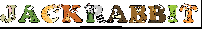 The word JACKRABBIT written in cute cartoon animal drawings