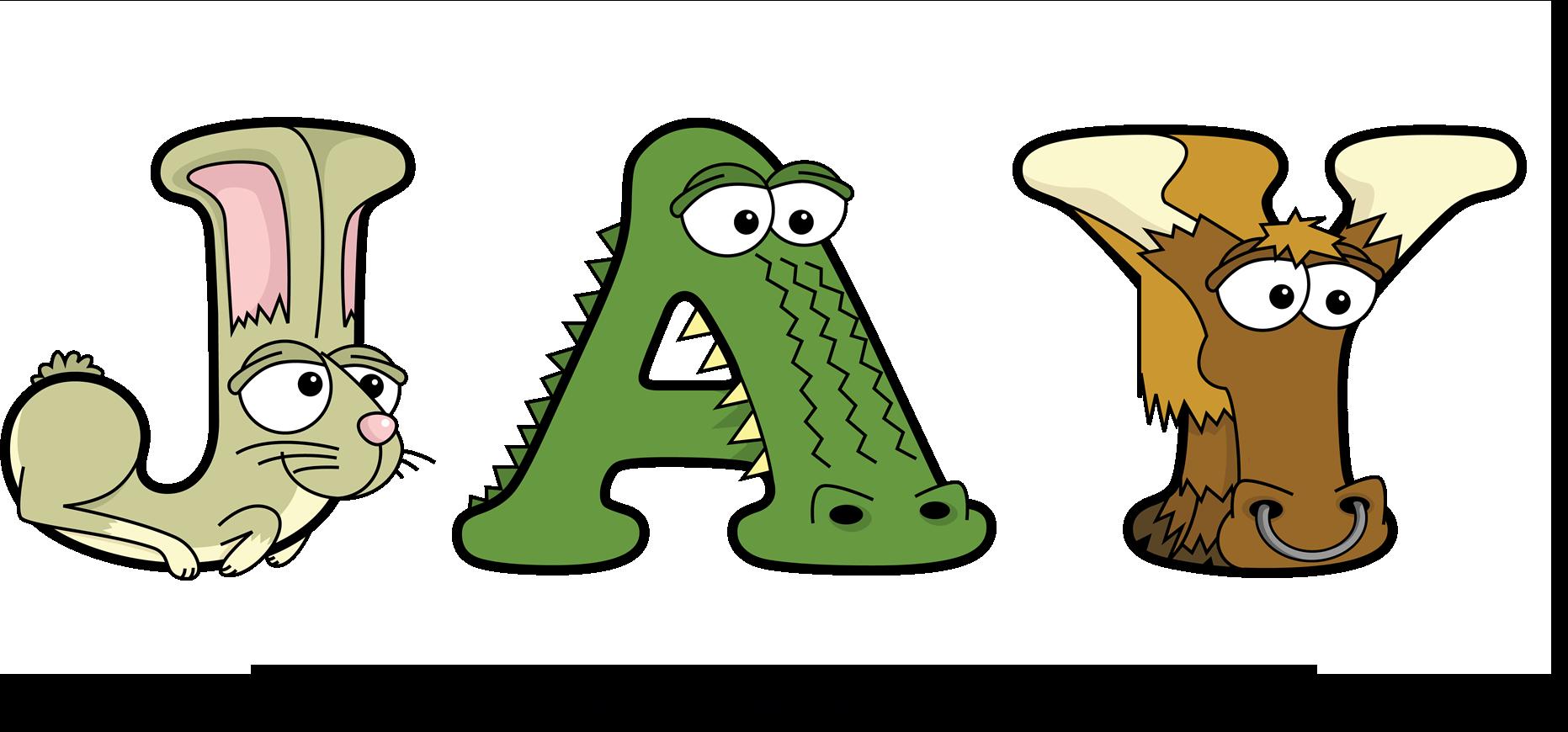 The word JAY written in fun cartoon animal word art