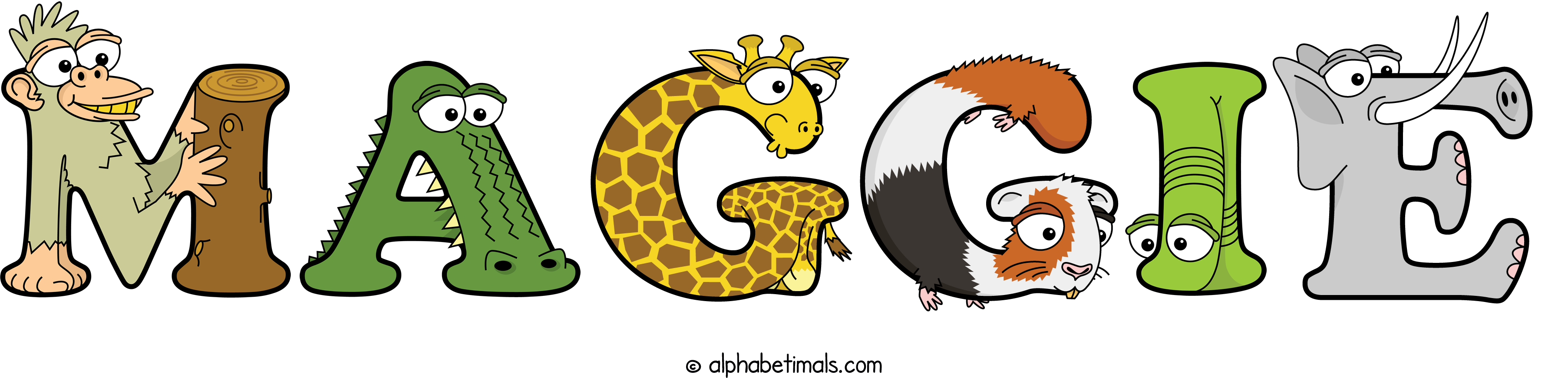 The word MAGGIE written in cute cartoon animal drawings