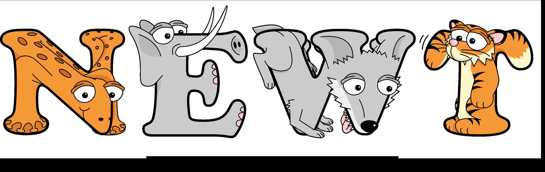 The word NEWT written in cute cartoon animal drawings