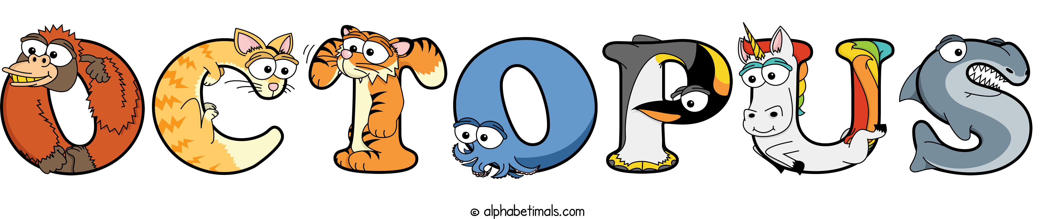 The word OCTOPUS written in cute cartoon animal drawings