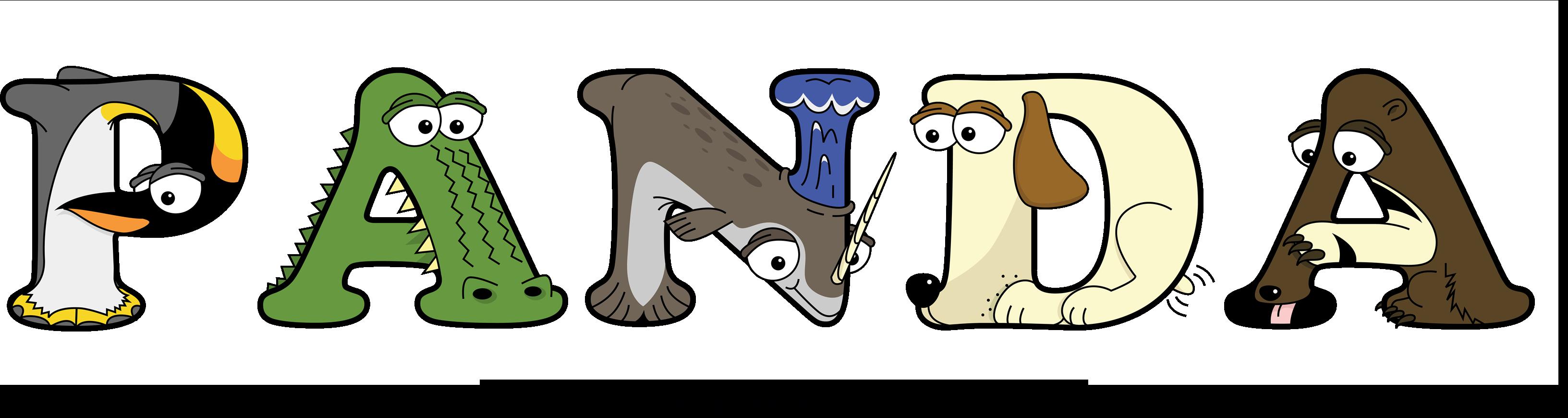 The word PANDA written in cute cartoon animal drawings