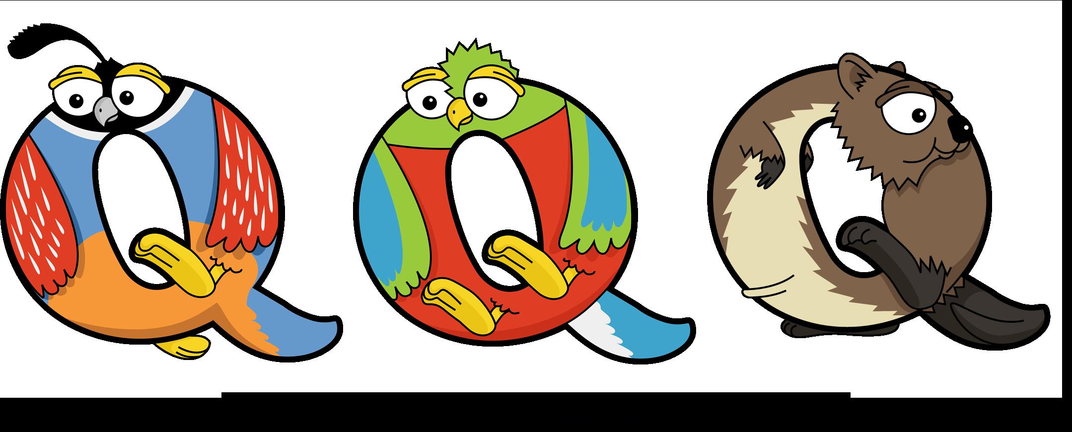 The word QQQ written in cute cartoon animal drawings