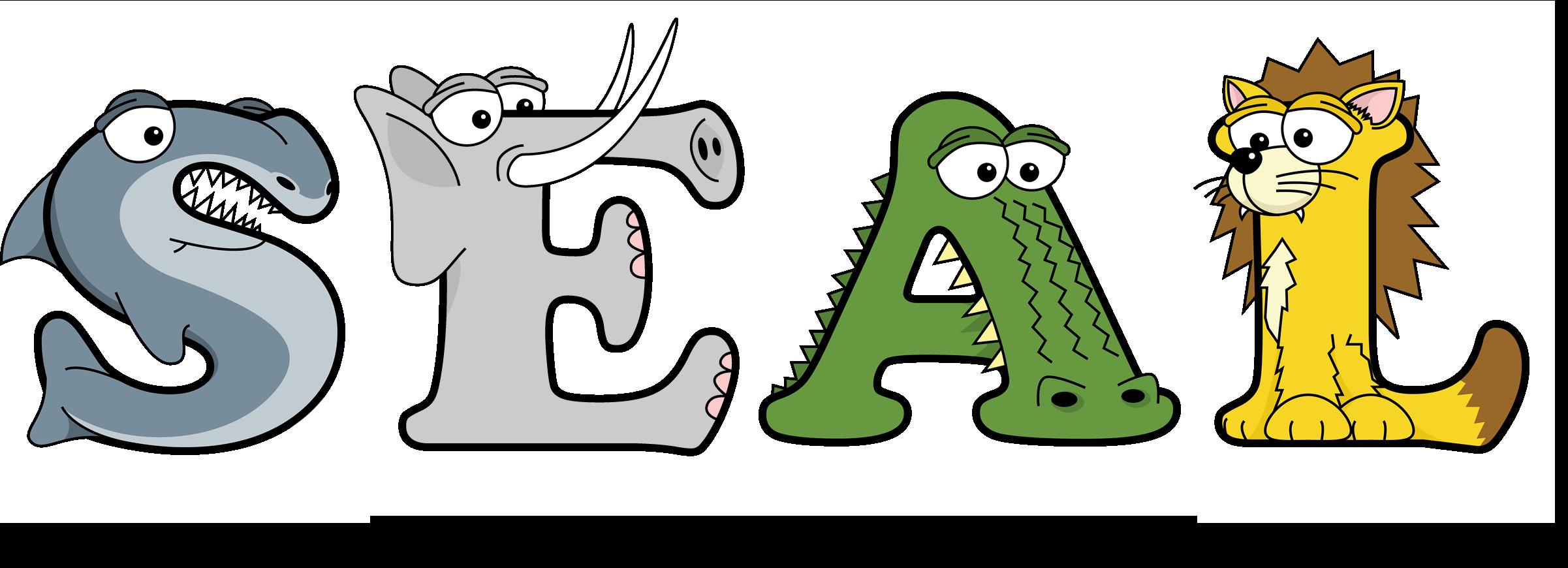 The word SEAL written in cute cartoon animal drawings