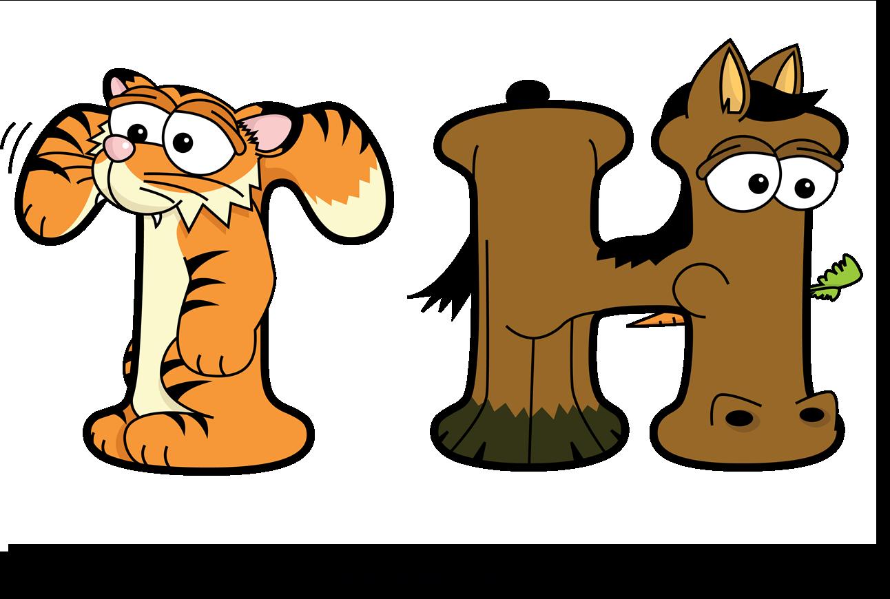 The word TH written in cute cartoon animal drawings