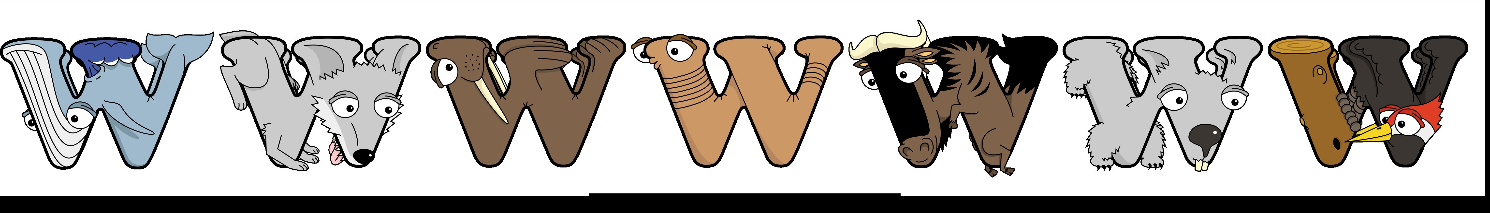The word WWWWWWW written in cute cartoon animal drawings