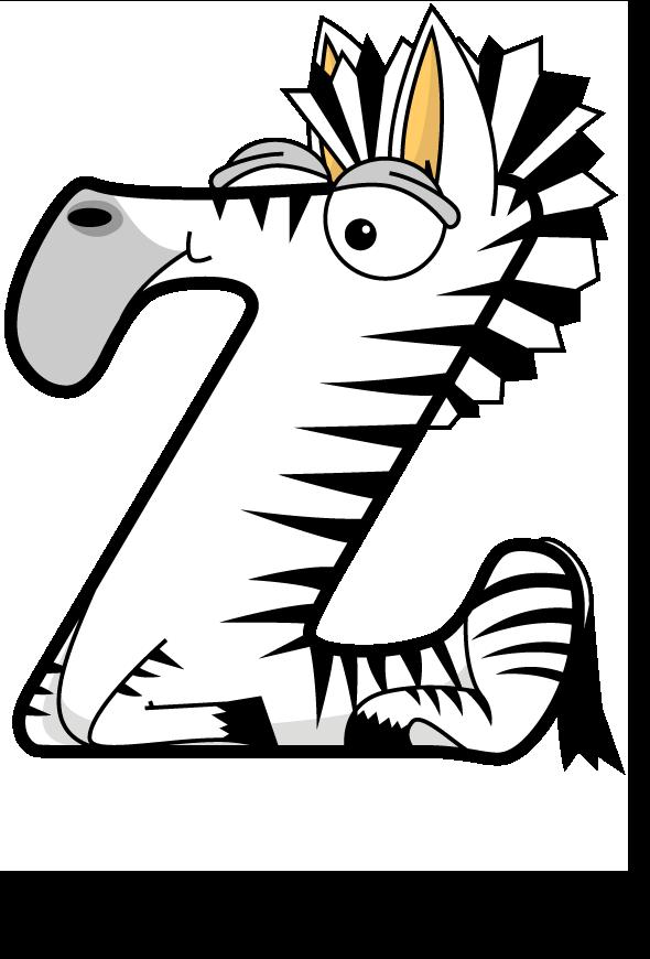 The word Z written in cute cartoon animal drawings