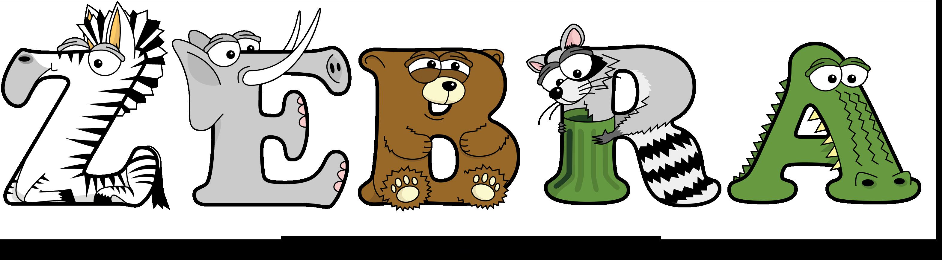 The word ZEBRA written in cute cartoon animal drawings