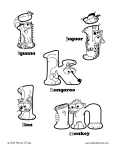 Printable Coloring Pages - Lowercase Letters - iguana, jaguar, kangaroo, lion, monkey