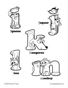 Printable Coloring Pages - Lowercase Letters - iguana, jaguar, kangaroo, lion, monkey
