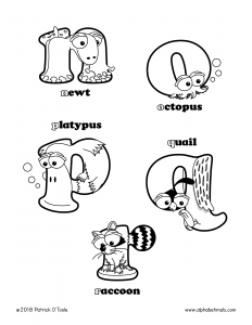 Printable Coloring Pages - Lowercase Letters - newt, octopus, platypus, quail, raccoon