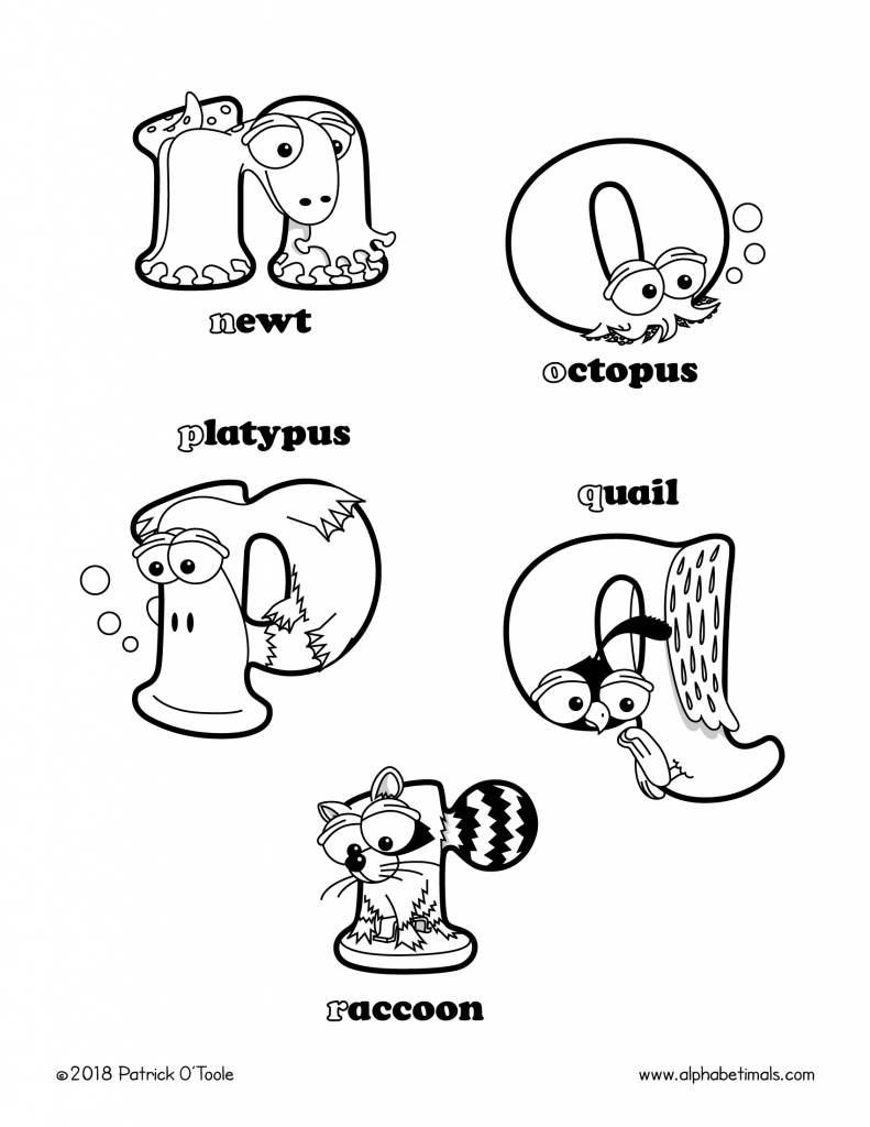 Printable coloring pages lowercase letters newt octopus platypus quail raccoon