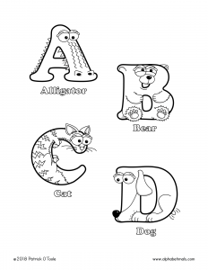 Printable Coloring Pages - Uppercase Letters - Alligator, Bear, Cat, Dog