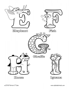 Printable Coloring Pages - Uppercase Letters - Elephant, Fish, Giraffe, Horse, Iguana