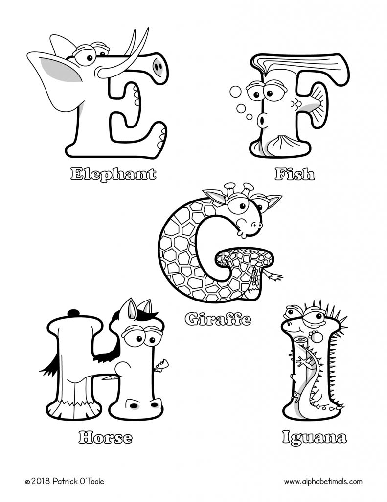 Printable Coloring Pages: Uppercase Letters & Animals