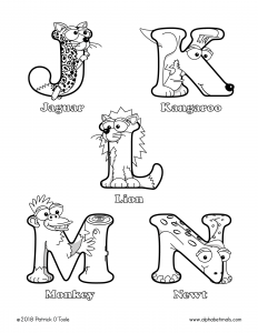 Printable Coloring Pages - Uppercase Letters - Jaguar, Kangaroo, Lion, Monkey, Newt