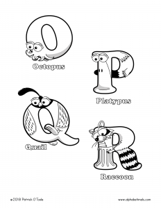 Printable Coloring Pages - Uppercase Letters - Octopus, Platypus, Quail, Raccoon