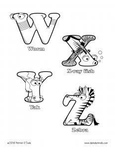 Printable Coloring Pages - Uppercase Letters - Worm, X-ray Fish, Yak, Zebra