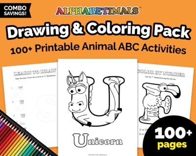 Alphabetimals Drawing and Coloring Pack