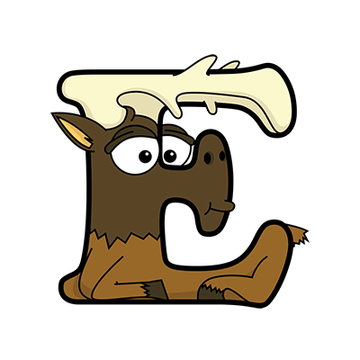 Cartoon Elk | Alphabetimals.com