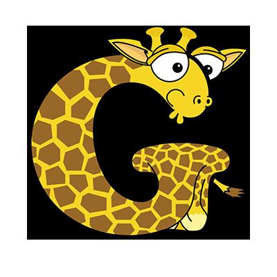 Cartoon Giraffe   Alphabetimals.com