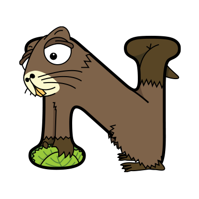 Cartoon Nutria | Alphabetimals.com