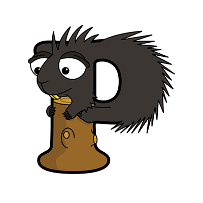 Cartoon Porcupine | Alphabetimals.com
