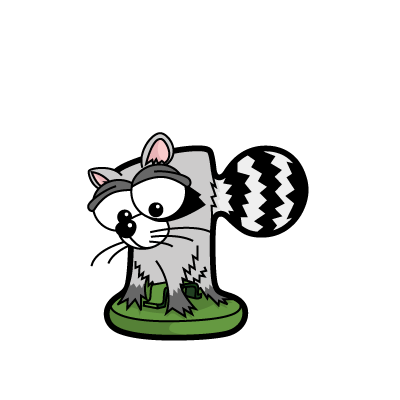 Cartoon raccoon | Alphabetimals.com