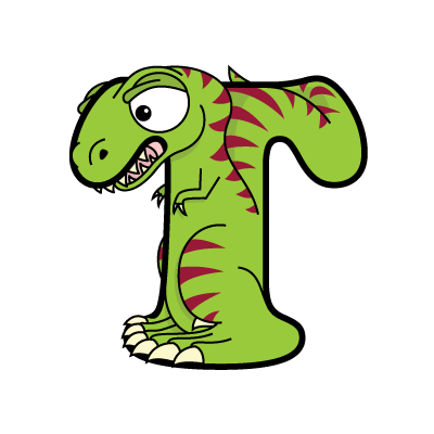 Cartoon T-Rex | Alphabetimals.com