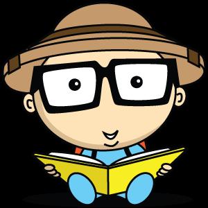 Cartoon boy reading a book - Alphabetimals