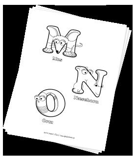 Print-selv alfabet malebog - gratis download