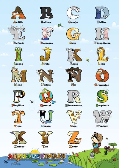 Cartel del alfabeto - Alphabetimals