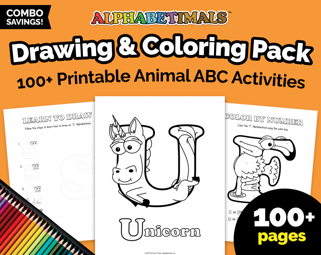 Alphabetimals Drawing and Coloring Pack Worksheets