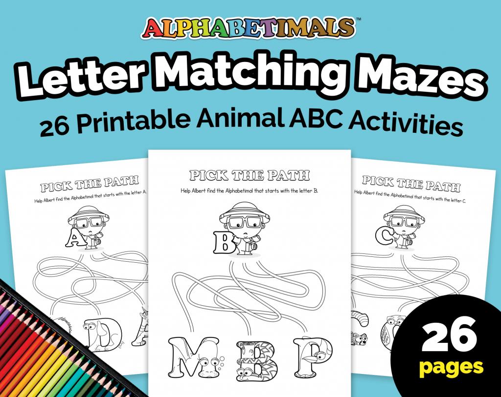 Alphabetimals Letter Matching Mazes Worksheets