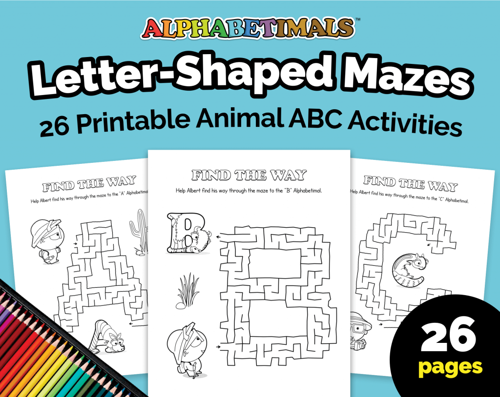 Alphabetimals Letter-Shaped Mazes Worksheets