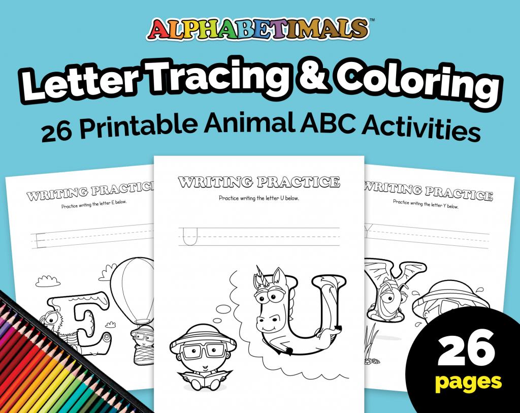 Alphabetimals Letter Tracing & Coloring Worksheets