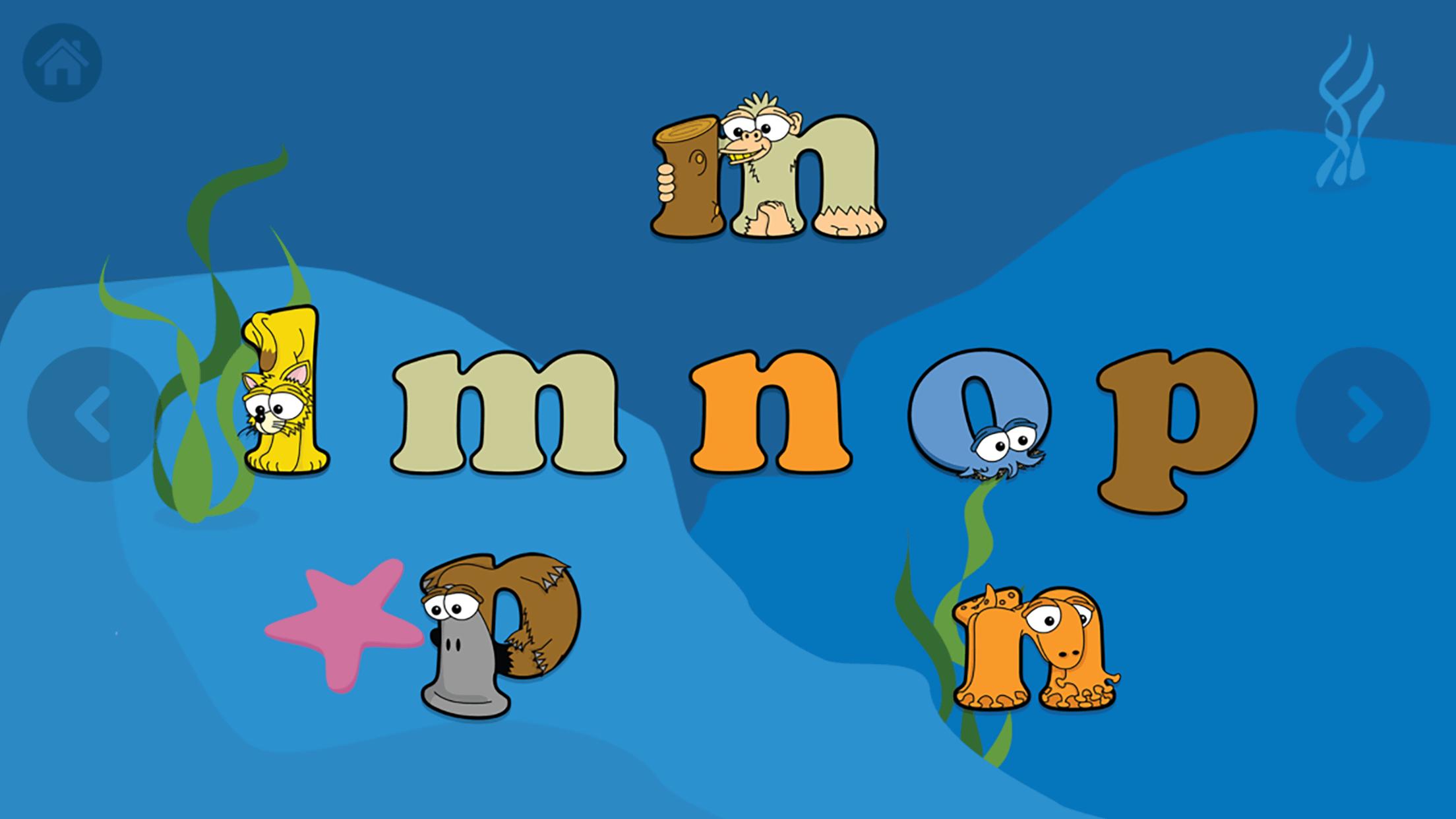 Alphabetimals App Lowercase Letters Screen