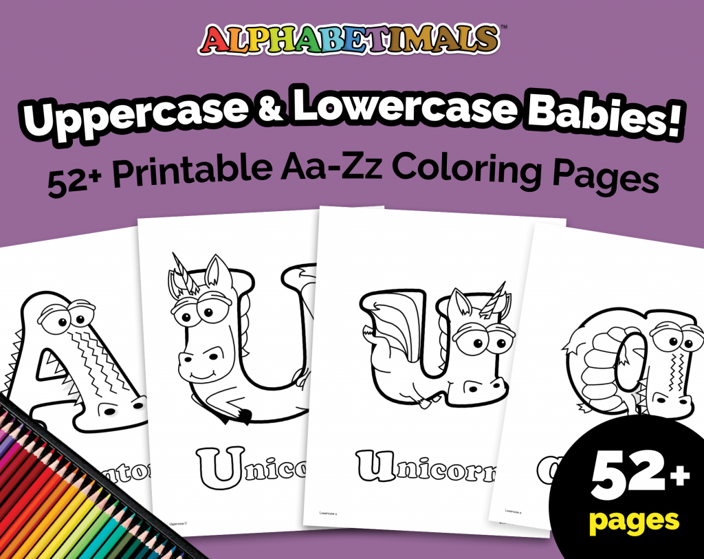 Alphabetimals Uppercase & Lowercase Babies Coloring Pages